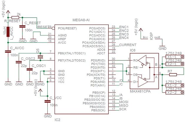 Rys. 11. Schemat podłączenia mikrokontrolera ATmega8 [Scheme of the logic part of engine controller]